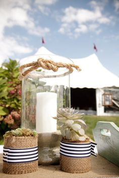 #burlap #nautical Photography by hannahperssonphoto.com Floral Design by sagefloralstudio.com Read more - http://www.stylemepretty.com/2013/01/09/massachusetts-yacht-club-wedding-from-hannah-persson-photo/
