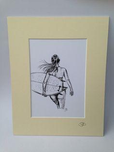 Impressão montada de biro esboço da menina do surfista arte da ressaca surfgirl ilustração assinada