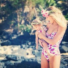 Matching floral swimsuit