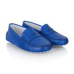 Tods Blue Leather Moccasins