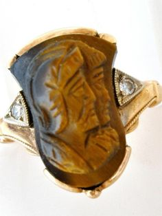 Antique Warrior Cameo Ring 10K Gold Diamond Carved Tigers Eye Art Deco Roman