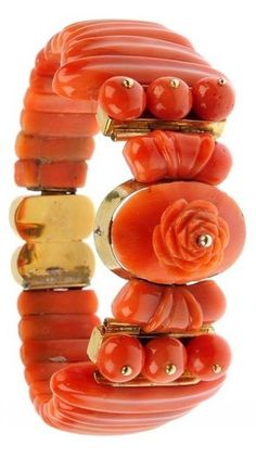 19th century carved coral bangle