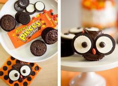 We're obsessed with this clever idea. Kids can create these adorable owls themselves using Oreo cookies, Reese's Pieces, and a bit of extra frosting. The work on your end is minimal—just whip up some cupcakes using a box mix.