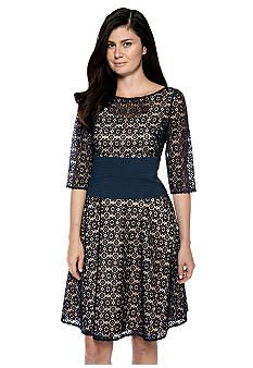 Adrianna Papell Three-Quarter Sleeve Fit and Flare Dress