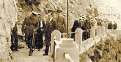 Historic photo of the King of Spain's visit to Caminito del Rey in 1921