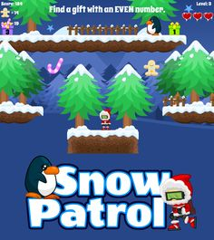 Check out of one of our seasonal place value games for online learners. Bundle up and go searching for gifts that show the correct answer. Watch out for penguins and other creatures! But don't worry, you have plenty of snowballs to use in your defense. Snow Patrol also let's kids pick odds and even numbers, prime and composite, multiples, factors, and even decimals. Place Value Games, Prime And Composite, Snow Patrol, Kid Picks, Educational Games For Kids, Place Values, Online Games, Don't Worry, Factors
