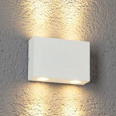 LED-utevegglampe Henor i hvitt, 4 lys
