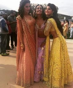Jacquline Fernandez, Nargis Fakhri, Lisa Haydon wearing traditional outfits by Astha Narang at Housefull 3 shoot Indian Wedding Outfits, Pakistani Outfits, Indian Outfits, Indian Lehenga, Lehenga Choli, Floral Lehenga, Anarkali, Indian Attire, Indian Wear