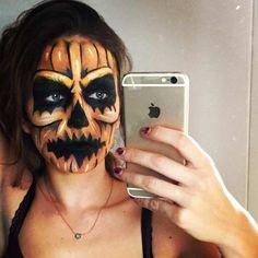 Scary Pumpkin Halloween Makeup Idea
