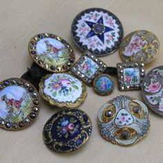 Antique Enamel Buttons. So Pretty They Look Like Jewelry.