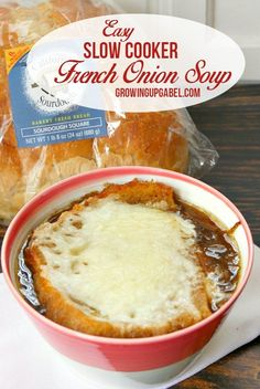 Are you ready to try THE BEST French onion soup recipe in the world? Look no further! Cooked completely in your slow cooker, this soup recipe is almost completely hands off! Top with sourdough bread and your favorite cheese for a divine dinner recipe or side dish.