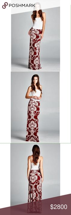 COMING SOON! $28 Maxi skirt with gorgeous pattern. 95% polyester 5% spandex. Skirts Maxi