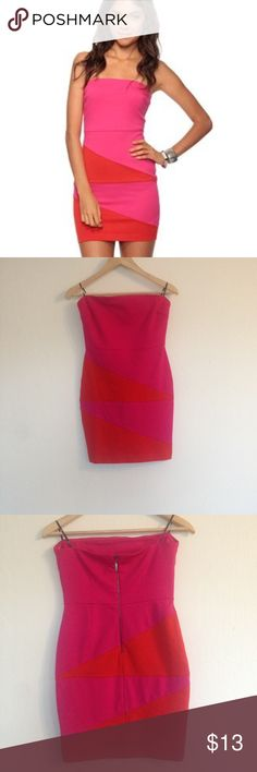 Forever 21 Colorblock Strapless Tube Dress Pink M The cute Forever 21 strapless tube dress is bright and ready to party with hot pink and orange color blocking and exposed back zip. Size medium NWOT. I bought this, cut the tags off and never wore it, now I am married and in my mid 30s and looking to pass on this dress to a good home. Forever 21 Dresses Mini