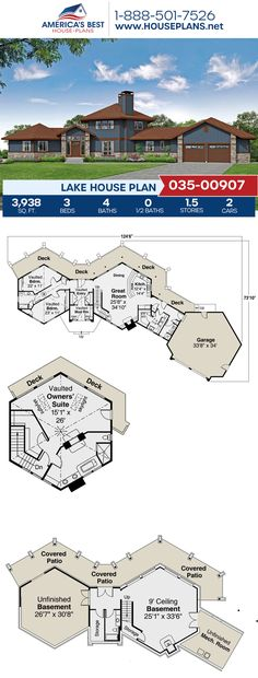 Get to know this marvelous Lake home, Plan 035-00907 details 3,938 sq. ft., 3 bedrooms, 4 bathrooms, an open floor plan, and a mudroom. #architecture #houseplans #housedesign #homedesign #homedesigns #architecturalplans #newconstruction #floorplans #dreamhome #dreamhouseplans #abhouseplans #besthouseplans #newhome #newhouse #homesweethome #buildingahome #buildahome #residentialplans #residentialhome Lake House Plans, Best House Plans, Dream House Plans, Minecraft House Tutorials, Minecraft Houses, Building Plans, Building A House, Open Layout, Open Floor