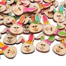 50 шт. 2 отверстия смешанная окрашенные симпатичные животные деревянные кнопки кролик случайно смешанный украшения аксессуары(China (Mainland))