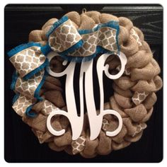Special Price!! Spring Wreath-Monogrammed Burlap Wreath- Wedding Decor- Fall Wreath- Monogrammed Door Hanger by SheekBurlapDesigns on Etsy https://www.etsy.com/listing/197677870/special-price-spring-wreath-monogrammed