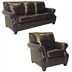 Salem Rustic Brown Italian Leather Sofa and Chair Set