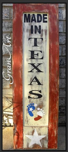 Rustic Texas Sign. Made in Texas Sign/Rustic Texas Sign/Kid's Room by GranArt on Etsy