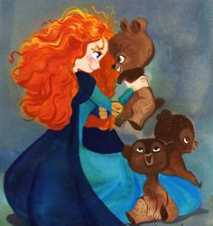im going to get red hair in a few weeks,and then i will curl it reall really well! Merida fe brave and her three bear brothers from disney illustration sketch drawing disney art Walt Disney, Disney Pixar, Cute Disney, Disney Dream, Disney Animation, Disney And Dreamworks, Disney Magic, Disney Movies, Disney Fine Art