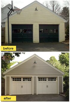 This historic Boston garage makeover is a favorite of ours and our Pinterest followers. The homeowners loved their colonial style home. What they didn't love was the detached cinder block garage. When one of the garage doors stopped working, they loved it even less. So they turned to a Concord Carpenter and ‪Clopay‬ for help. Check out the results. Doors shown: Coachman Collection carriage style garage doors. www.clopay.com