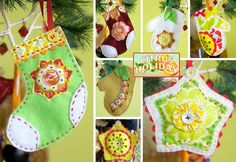 Adorable ornaments from scraps of felt. These are all quickly hand sewn using remnants, scraps, buttons and embroidery floss.
