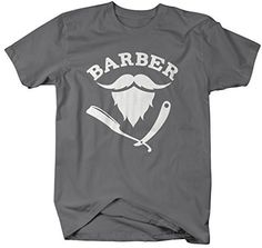Shirts By Sarah Men's Barber T-Shirt Hair Stylist Mustache Beard Shirts