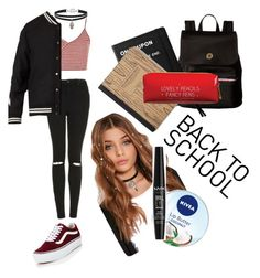 """""""School"""" by luisaisluv ❤ liked on Polyvore featuring Topshop, Vans, Off-White, Betsey Johnson, Tommy Hilfiger, Nivea, NYX, Killstar and Happy Jackson"""