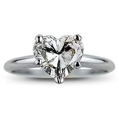 DiscountDiamondRingsOnline - Clarity Enhanced Diamond - .78 Carat Heart Shape Diamond Engagement Solitaire Ring - DVS2 - Discount Diamond Rings
