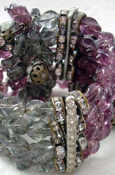 Hobé - Bijoux Vintage - Parure Collier, Bracelet et Boucles d'Oreilles - Perles de Verre et Strass - Années 50