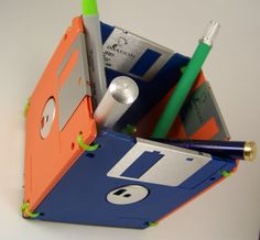 """Floppy Disk: Pen, Pencil Holder, Open Top Safe.  Orange and Blue 3.5"""" Old School Computer Technology Recycled Reuse by Renewtech on Etsy"""