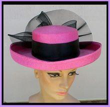 Vintage 1980s Hat Big PINK Wide Brim DRAMATIC Millinery Fashion