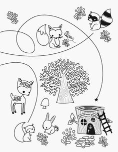 Woodland Animals Coloring Pages Free For Kids Cesar