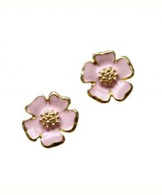 Pale Pink Enamel and Gold Clip-On Flower Earrings
