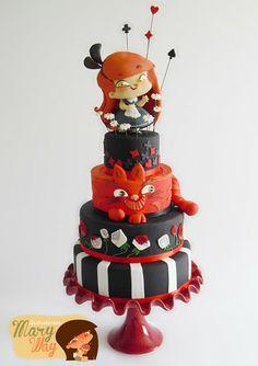 MaryWay Ilustratartas: Ilustratarta Alice in Wonderland Pretty Cakes, Beautiful Cakes, Amazing Cakes, Cakepops, Artist Cake, Heart Wedding Cakes, Alice In Wonderland Cakes, Fantasy Cake, Character Cakes
