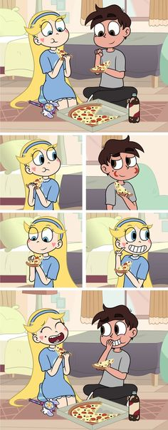 Pizza Time with Marco and Star by on DeviantArt Star E Marco, Power Of Evil, Starco Comic, Princess Star, Cartoon Profile Pictures, Disney Xd, Star Butterfly, Cute Cartoon Wallpapers, Disney Stars