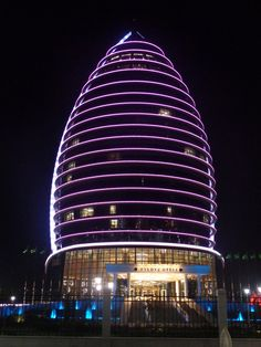 hotel in purple light - Ashkabad-photo taken by Sandy Robert