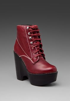 Jeffrey Campbell Tardy Lace Up Platform in Red Leather most comfortable shoes! They're pretty heavy but easy to walk in