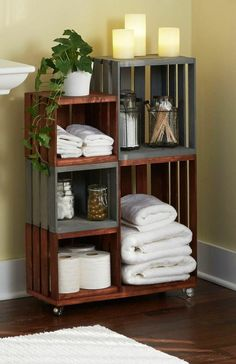 DIY Bathroom Storage Shelves Made From Wooden Crates Bathroom storage on wheels! Ordinary wooden crates come together for this attractive and handy bathroom organizer. It's an easy DIY project with our step-by-step tutorial. Bathroom Storage Shelves, Bathroom Organisation, Bathroom Ideas, Organization Ideas, Bathroom Vanities, Wood Bathroom, Bathroom Cabinets, Storage Cabinets, Budget Bathroom