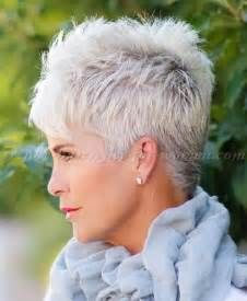 short hairstyles over 50 - spiky short hairstyle for grey hair | trendy-hairstyles-for-women.com