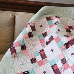 Beautiful quilt made with Posy Garden fabric designed by Carina Gardner for Riley Blake Designs