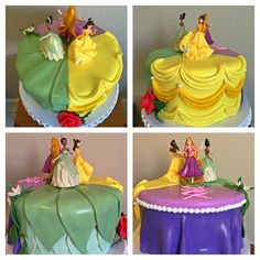 Disney Princess Cake featuring Tiana, Belle and Rapunzel.