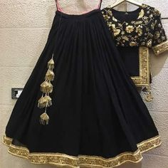 New designer black color embroidery work goergette lehenga choli Lengha Blouse Designs, Lehenga Blouse, Lehenga Choli, Saree, Golden Lehenga, Black Lehenga, Dress Neck Designs, Designs For Dresses, Pakistani Dresses
