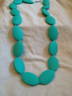 Teething Necklace Jewelry - Organic BPA Free Silicone Teether Toys for Nursing Moms (Turquoise)