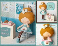 PDF. French bakery girl .Plush Doll Pattern, Softie Pattern, Soft felt Toy Pattern.. $8.00, via Etsy. I may have to break down and get this one!