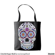 Colorful Sugar Skull Tote Bag