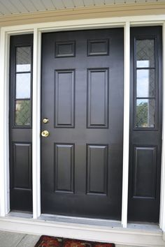 Painted entry doors 7 amazing black front door ideas decor ideas we like black front doors doors and painted front doors paint colors for front doors on red Black Exterior Doors, Exterior Doors With Sidelights, Black Front Doors, Painted Front Doors, Front Door Entrance, Front Entrances, Entry Doors, Front Entry, Garage Doors