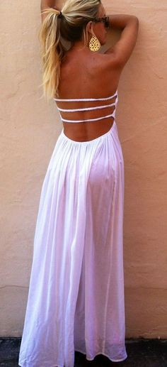 Lovely back white maxi dress. available on #trendslove <3 http://www.trendslove.com/product/bandeau-split-maxi-dress---white--lookbook-store/1579