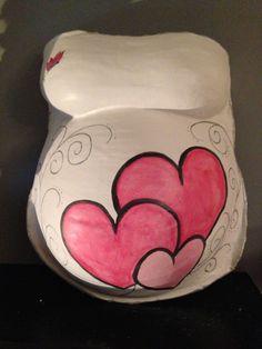 Bellycast with pink heart and butterfly   Gipsbuik met roze hartjes en vlinder   Www.bellypaint.nu