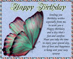 Beautiful butterfly card for special birthday wishes. Free online A Day That's Fun And Carefree ecards on Birthday Birthday Hug, Birthday Songs, Very Happy Birthday, It's Your Birthday, Special Birthday Wishes, Birthday Wishes Funny, Birthday Sparklers, Beautiful Birthday Cards, Happy Panda