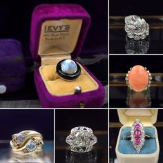Ring selection at Reverie, antique jewelry boutique in NYC